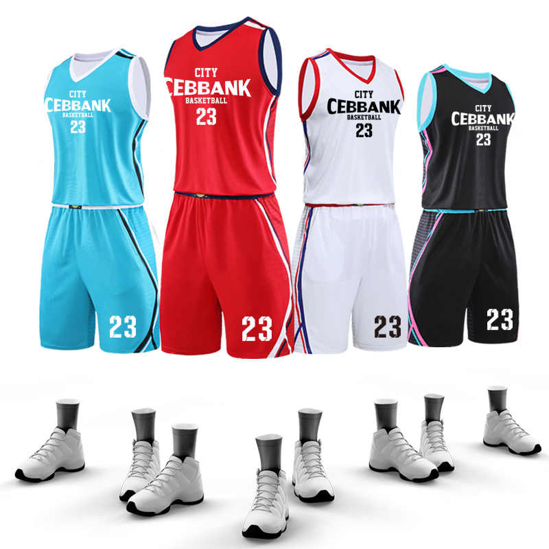 Men Basketball Set Uniforms kits 2019 Big Size college Basketball Jerseys Sports clothing DIY Customized Training suits Summer