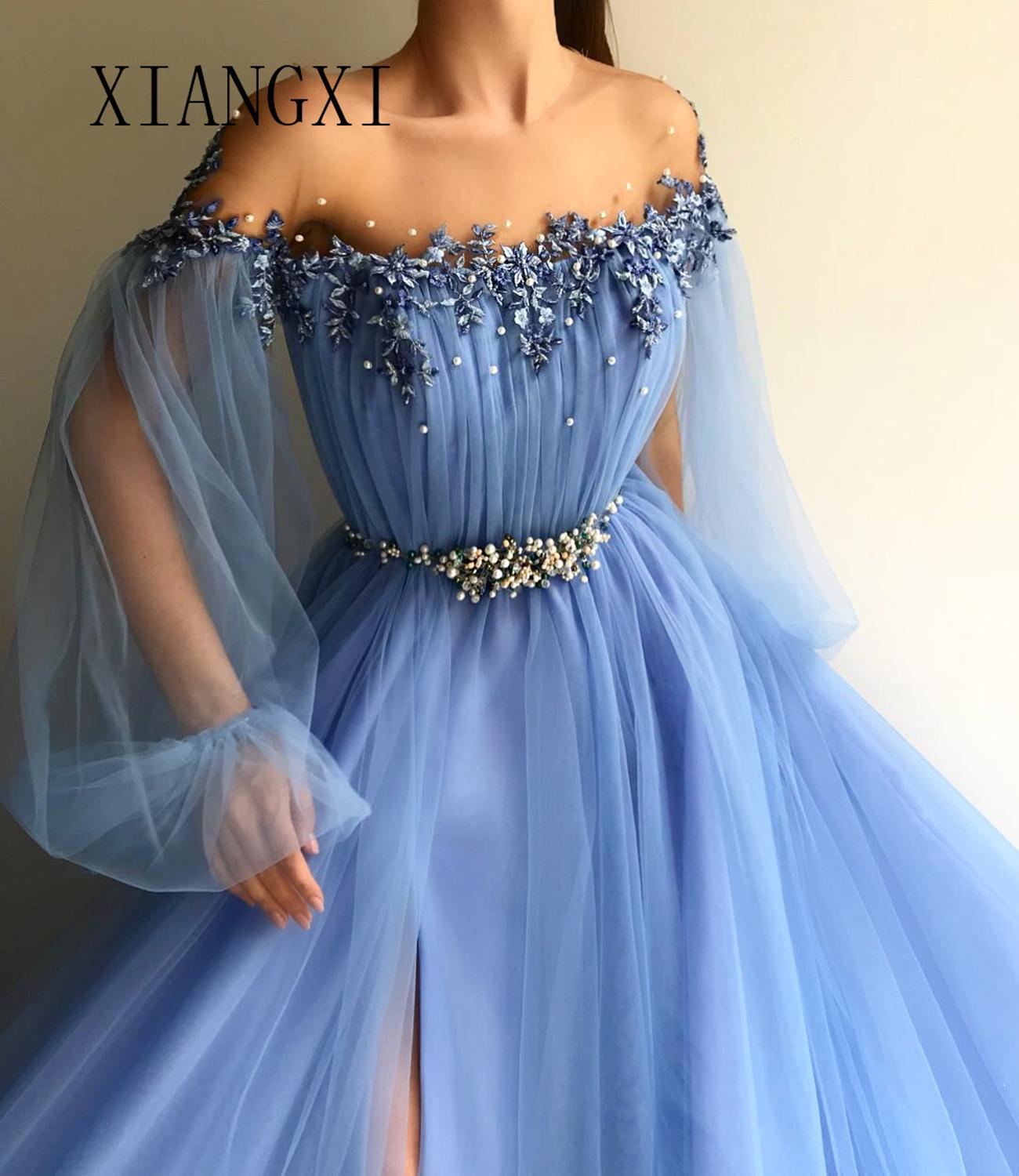 Sky Blue Evening Dress Long Tulle A-Line Off The Shoulder Full Sleeves Split Prom Party Gowns Evening Dresses Floor Length