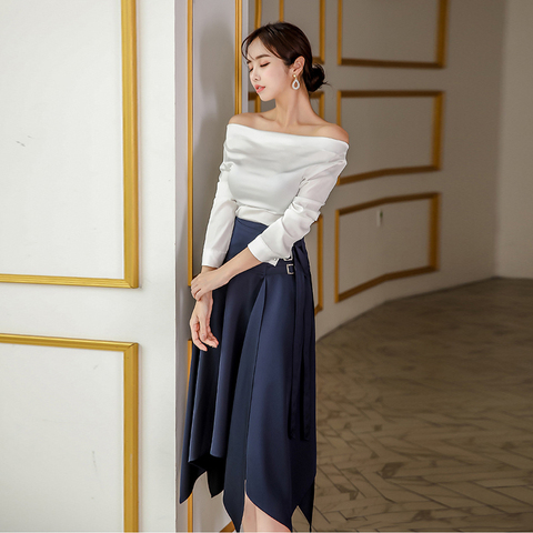 2 Pieces Set Suits Women Elegant Sexy Autumn off shoulder Shirt Top Sheath Bodycon Pencil Skirt Office  Suits Set Karachi
