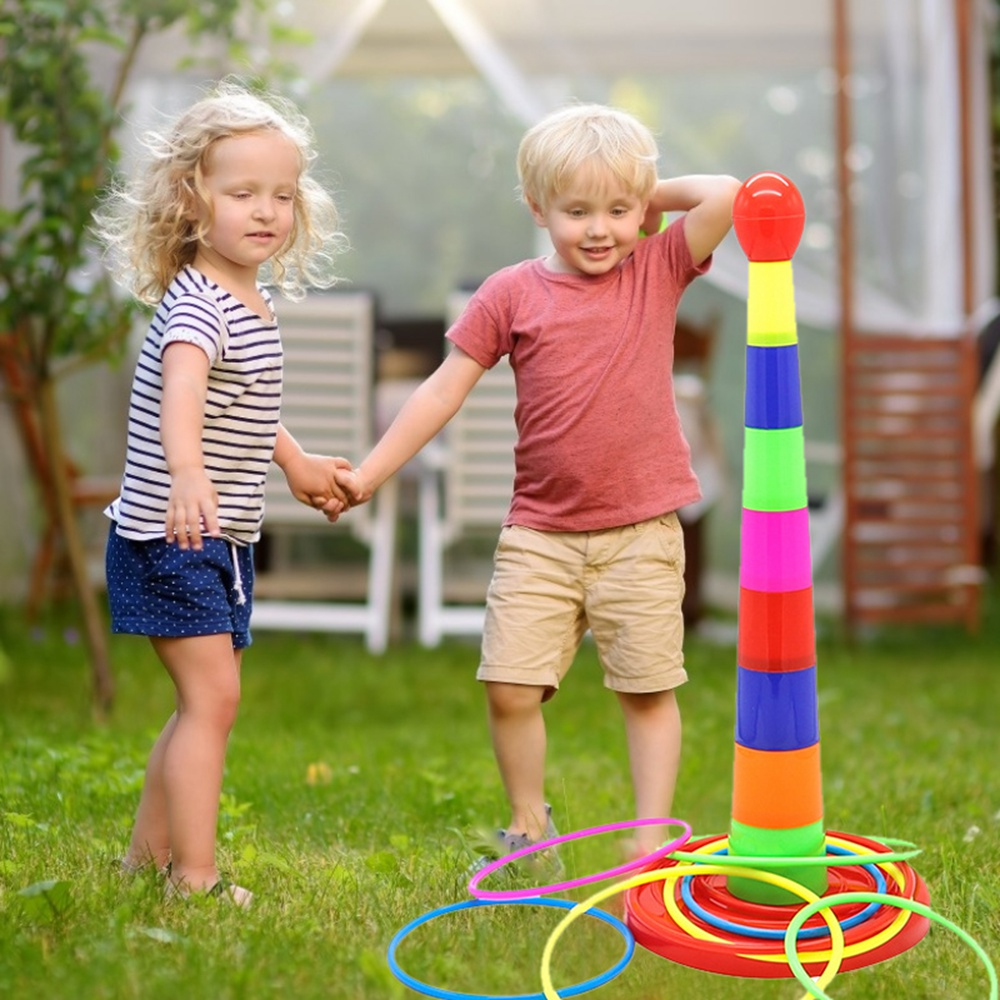 Kids Throwing Rings Toy Outdoor Sport Circle Ferrule Stacked Layers Game Parent-Child Interactive Family Toy For Children Gift