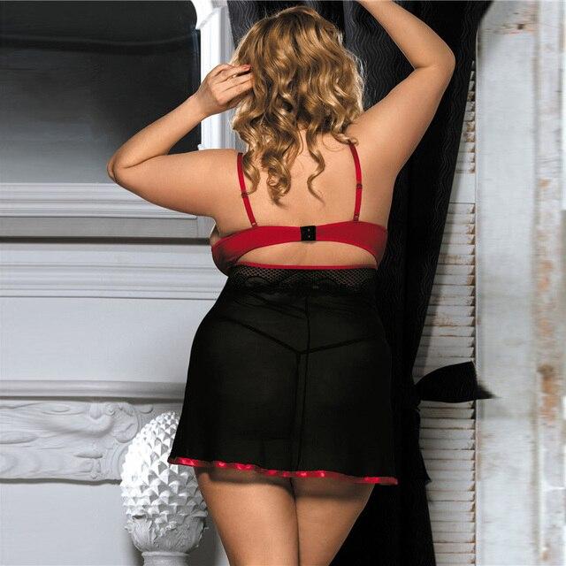 Sexy Transparent Sleepwear Nightie Dress Plus Size #F1633 6