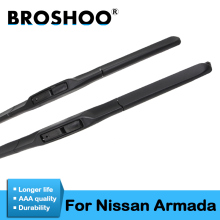 цена на BROSHOO Car Soft Rubber Wiper Blades For Nissan Armada 2005 2006 2007 2008 2009 2010 2011 2012 2013 2014 2015 2016 2017 2018
