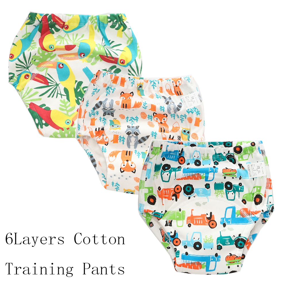 6 Layers Baby Potty Training Pants Infant Kids Reusable Diaper Cover Baby Nappy Panties Cotton Toddler Underwear