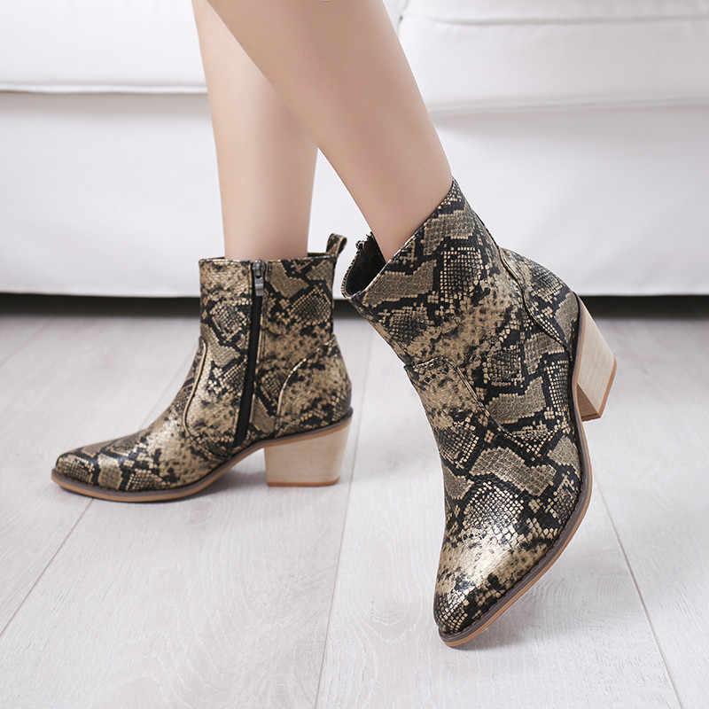 COOTELILI Kadın yarım çizmeler Kalın Topuklu Sivri Burun fermuar Moda Yılan Derisi rahat ayakkabılar Kadın Yüksek topuklu kadın ayakkabı 41,42, 43