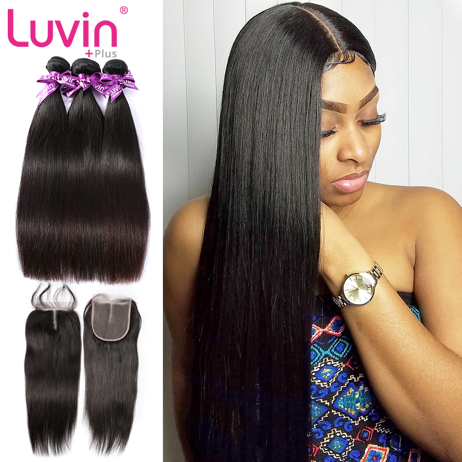 Luvin Straigh Hair Straight Malaysian Hair Bundles With Closure 100%  Natural Human Remy Hair 3 Bundles With Closure Double Weft