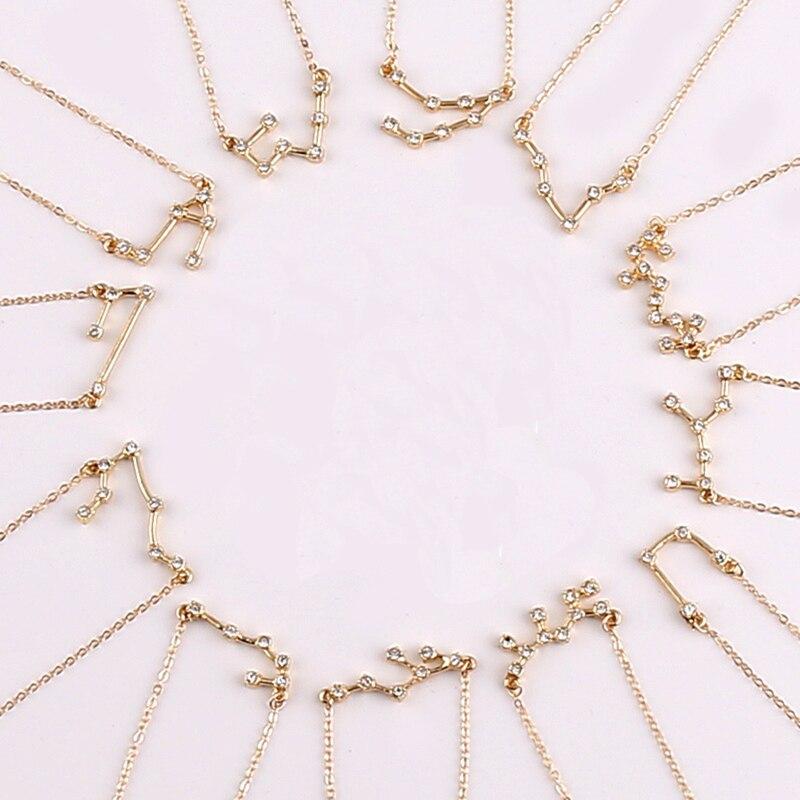 Todorova 12 Zodiac Signs Necklace Crystal Taurus Capricorn Scorpio Twelve Constellation Pendant Necklaces Women Wedding Jewelry(China)