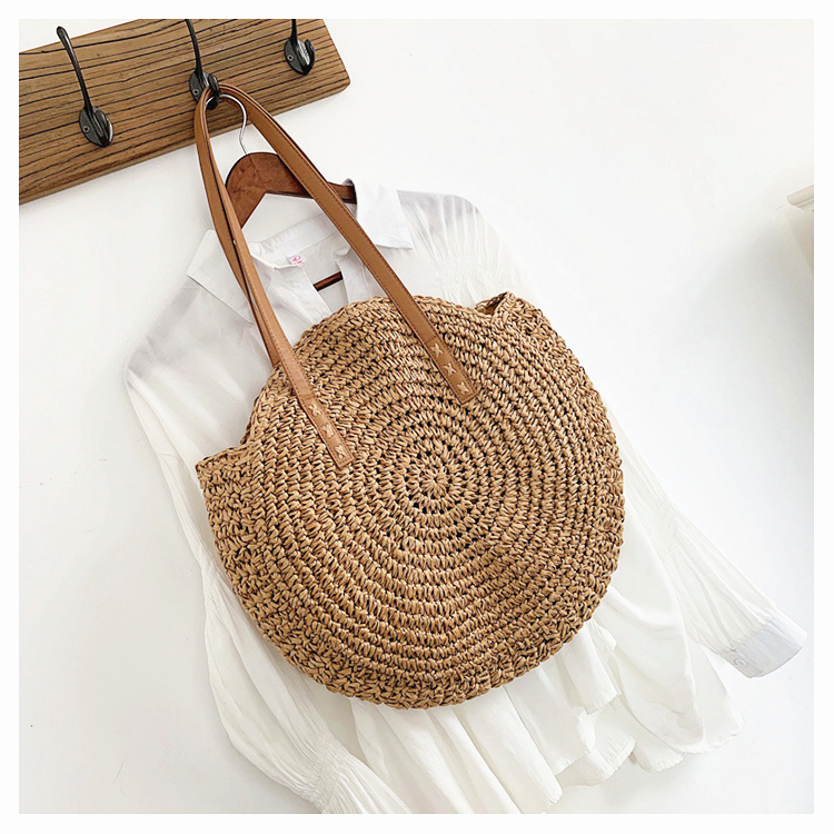 Round Straw Tote Bags for Summer 2021 with Woven Pattern