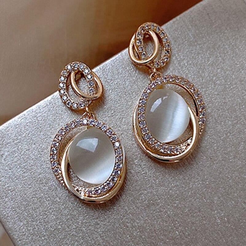 Yaologe Interlocking Double-Layer Golden Drop Shape Tiny Pendant Earrings Ornate Rhinestone Earrings 2020 Jewelry For Women
