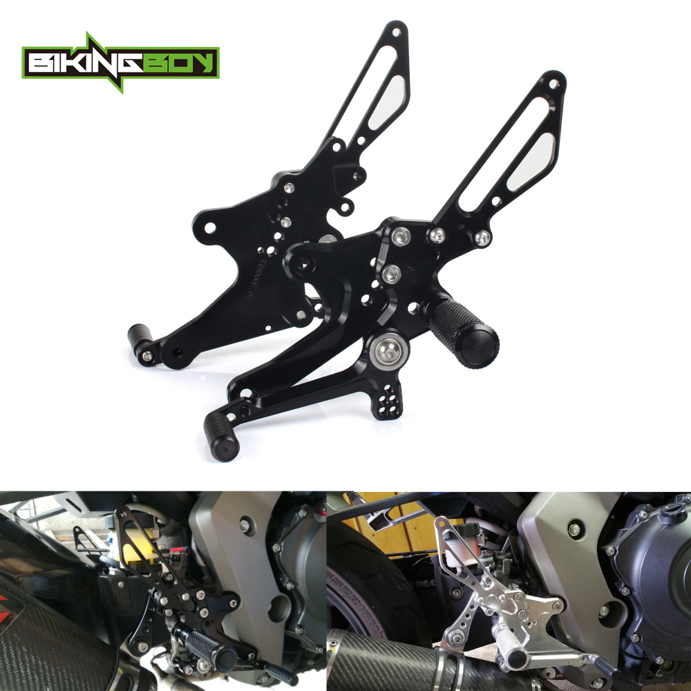BIKINGBOY 6 Adjustable Positions Rearsets Rear Sets Footpegs Footrests For Honda CB1000R CB 1000 R 08-17 2008-2017