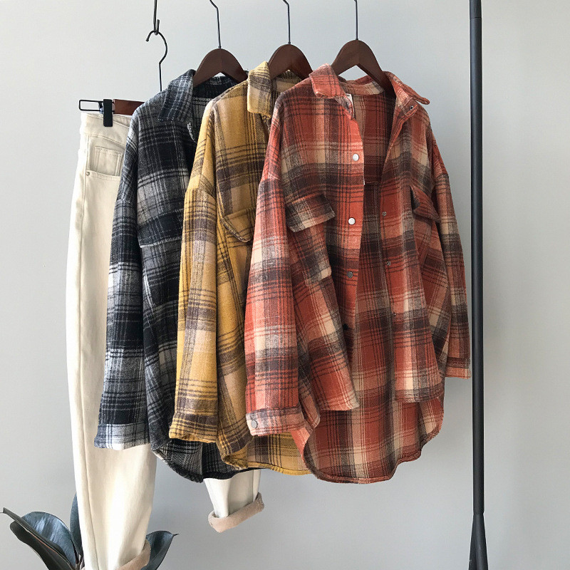 High Quality Spring Casual Thick Blouses 2020 Women Plaid Shirt Checks Flannel Shirts Female Long Sleeve Tops Blouse Y8965