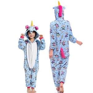 Image 2 - Flannel สัตว์ครอบครัวชุดนอนชุดฤดูหนาว Hooded Pegasus Unicorn PANDA ชุดนอน Onesie แม่ชุดนอนเด็ก