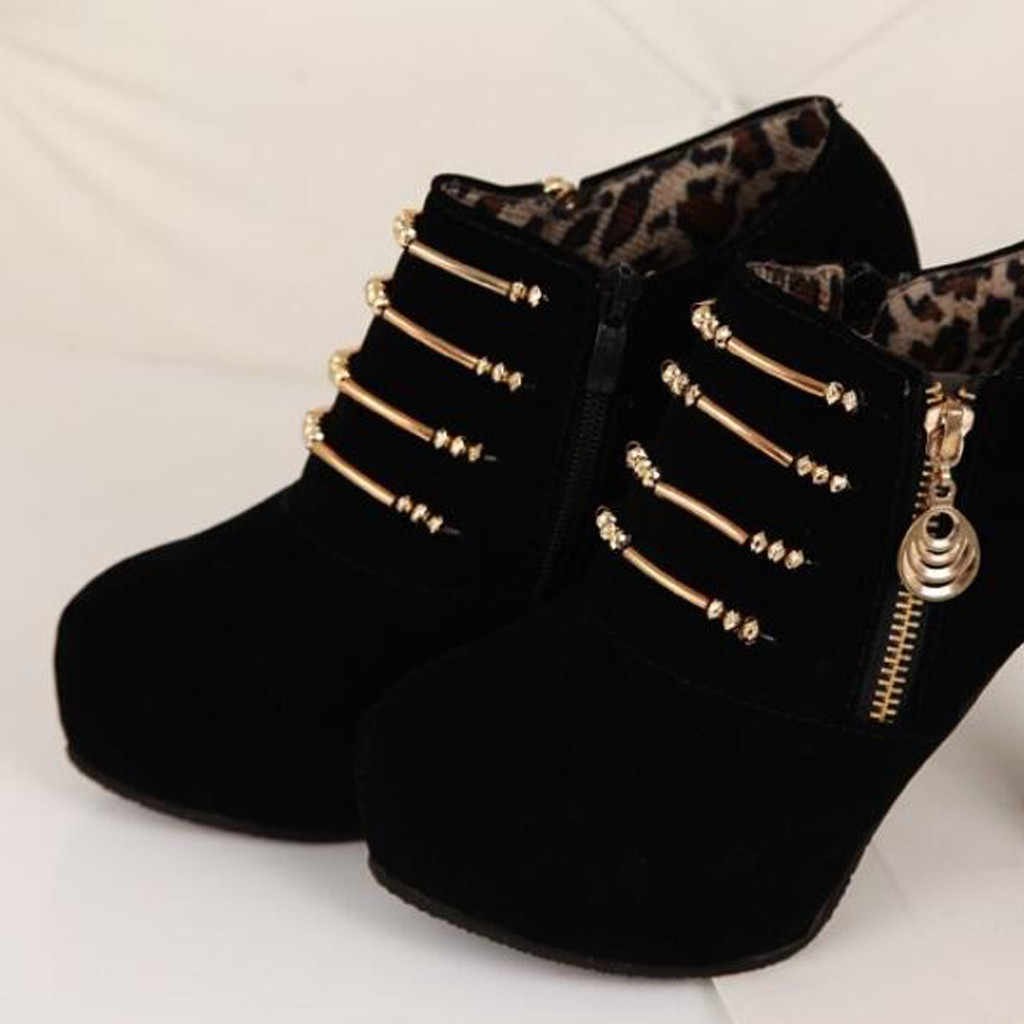 Kadınlar katı renk ayak bileği kısa sıska bacaklar çizmeler blok topuklu platformu süper yüksek yuvarlak ayak moda iş kış kar botları