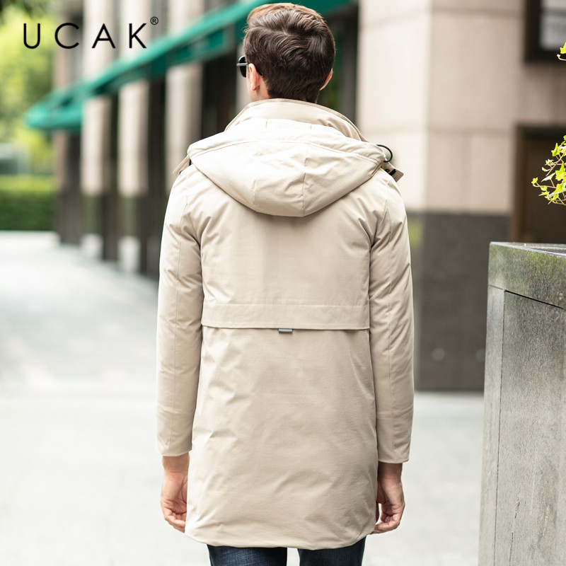 UCAK Brand Grey Goose Down Jackets Male Long Fashion Stylish Pockets Hooded Modern Casual 2019 Winter Men Clothing Jacket U8024