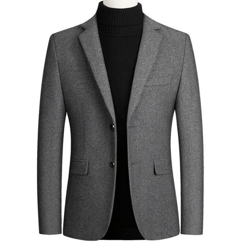 New Men Wool Blazer Business Casual Slim Fit Blazers Party/Wedding Men Dress Suits Woolen Jackets Blazers Terno Masculino