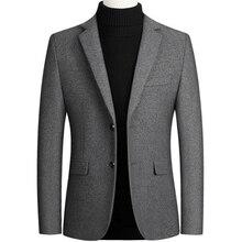 New Men Wool Blazer Business Casual Slim Fit Blazers Party/W