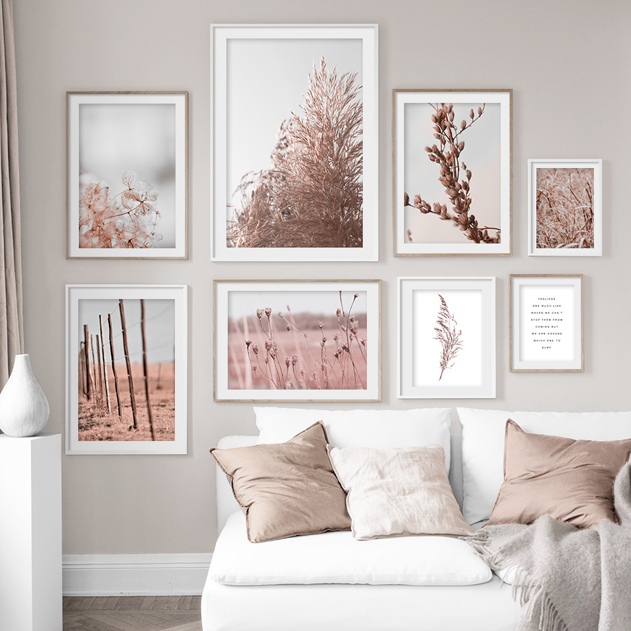 Pink Reed Grass Flower Plant Wall Art Picture Abstract Beautiful Canvas Poster Prints Home Decor Mural Painting For Living Room