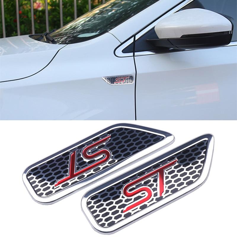2 шт. 3D Алюминий логотип ST кузова автомобиля Стикеры металлический значок, стикер, эмблема Стикеры эмблема наклейка Аксессуары для форд фиес...