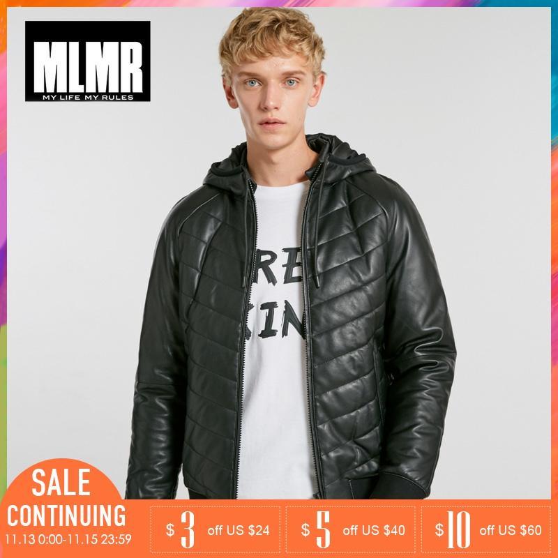 JackJones Mens Leisure Hooded Leather Winter Coat Jacket |218428505