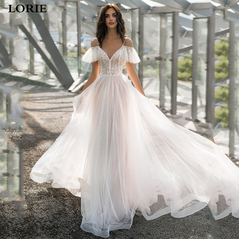 LORIE Princess Wedding Dress A Line Spaghetti Straps Bride Dress Vestidos De Novia Lace Boho Bride Wedding Gowns