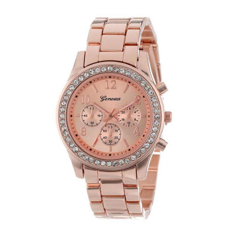 Yeni cenevre klasik lüks rhinestone İzle kadınlar saatler moda bayanlar kadınlar saat Reloj Mujer Relogio Feminino bayanlar izle