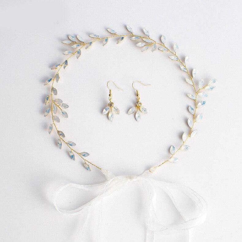 Горячая новинка, Опаловая Свадебная расческа для волос с листьями и кристаллами, простой свадебный головной убор для свадебной вечеринки - Цвет: 5