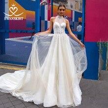 Swanskirt Romantic A Line Wedding Dress 2020 Boho Beaded Appliques Illusion Train Princess Bride Gown Vestido de novia F133