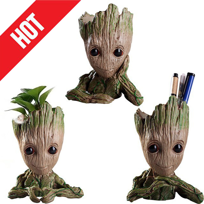 Cute Flower Pot Baby Groot Flowerpot Planter Action Figure Tree Man Model Toy Kids Pen Holder Creative Garden Flower Plant Pot