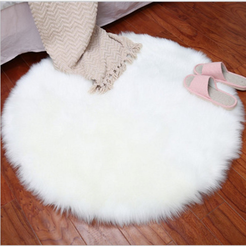35*35CM Soft Artificial Sheepskin Rug Chair Cover Bedroom Mat Artificial Wool Warm Hairy Carpet Seat Fur Area Rugs
