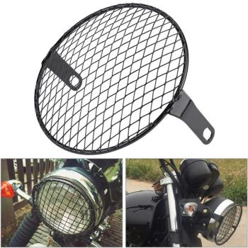 Universal Motorcycle Headlight Protector Grille Guard Cover 7 inch Metal Protection Mesh Grill Side Light Lamp Mount Cover 6 5inch universal retro motorcycle modification led headlight lamp with guard cover yellow driving light gn125 250