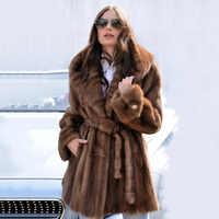 TOPFUR 2019 nuevo Popular abrigos de piel Real delgados para mujeres con capucha grande abrigo de piel de camello de buena calidad abrigo de piel de visón de cuero genuino