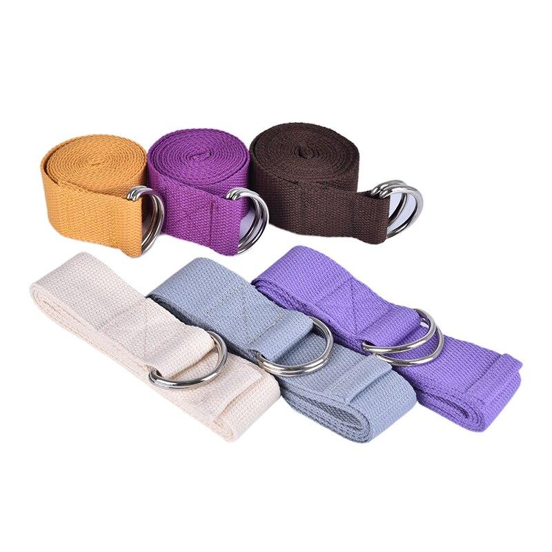 1.8M Cotton Yoga Strap Stretch Training Belt Fitness Gym Pilates D-Ring Straps