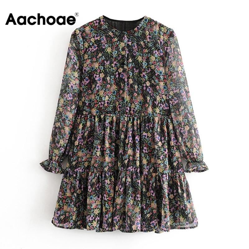 Aachoae Long Sleeve Floral Print Bohemian Dress Women Loose O Neck Chiffon Mini Dress Casual Pleated Beach Sundress Robe Femme