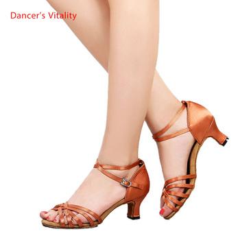 Tanie buty do tańca latynoskiego dla kobiet i dzieci buty do tańca latynoskiego tanie i dobre opinie Dancer s Vitality WOMEN L002 Latin Akrylowe Octan black brown black red black gold 25-41 3 5 5 5 7 5cm Spandex
