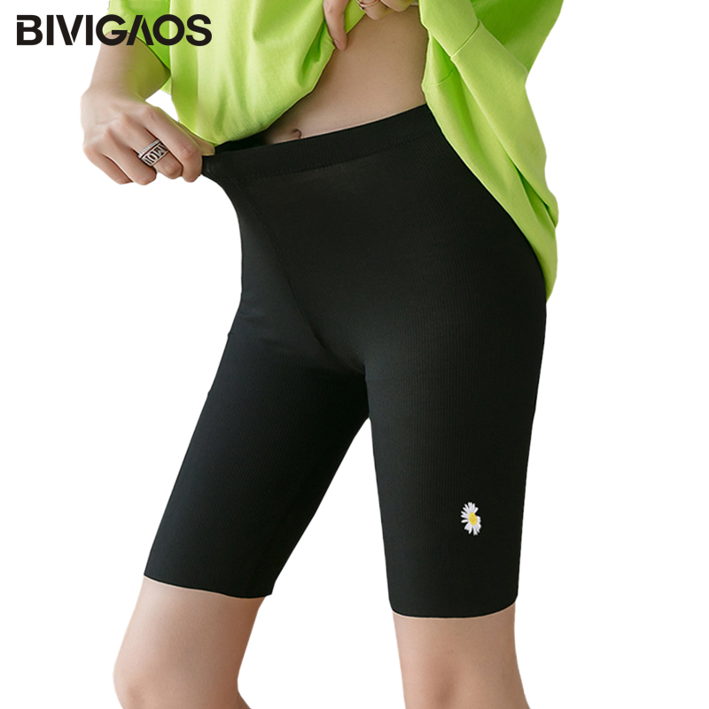 BIVIGAOS New Summer Small Daisy Flowers Shorts Women High Elastic Thin Threaded Cotton Knee Shorts Biker Shorts Sport Shorts