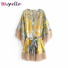 цена на Boho Tassel Beach Dresses Summer Floral Print Mini Dress Women 2019 Boho Chic Kimono Three Quarter Sleeve with Sashes Dresses