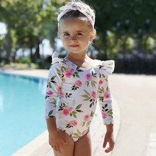 Детский цельный купальник с длинными рукавами для девочек лета