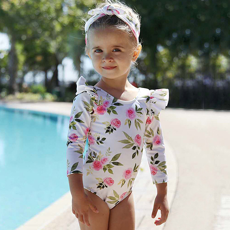 Baby Girls Swimwear 2020 Summer Cute Long Sleeve Toddler One Piece Swimsuit Bathing Suit Swimming Suit Children's Swim Suit