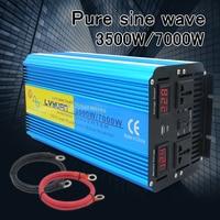 7000W peak pure sine wave power inverter transformer DC12V/24V TO AC 220V/230V/240V solar inverter Dual LED Display 3.1A USB