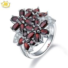 Hutang 5.26ct Cluster Garnet Womens Ring Solid 925 Sterling Silver Natural Red Gemstone Rings Fine Elegant Jewelry for Gift