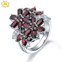 Hutang 5.26ct Cluster Garnet Women's Ring Solid 925 Sterling Silver Natural Red Gemstone Rings Fine Elegant Jewelry for Gift