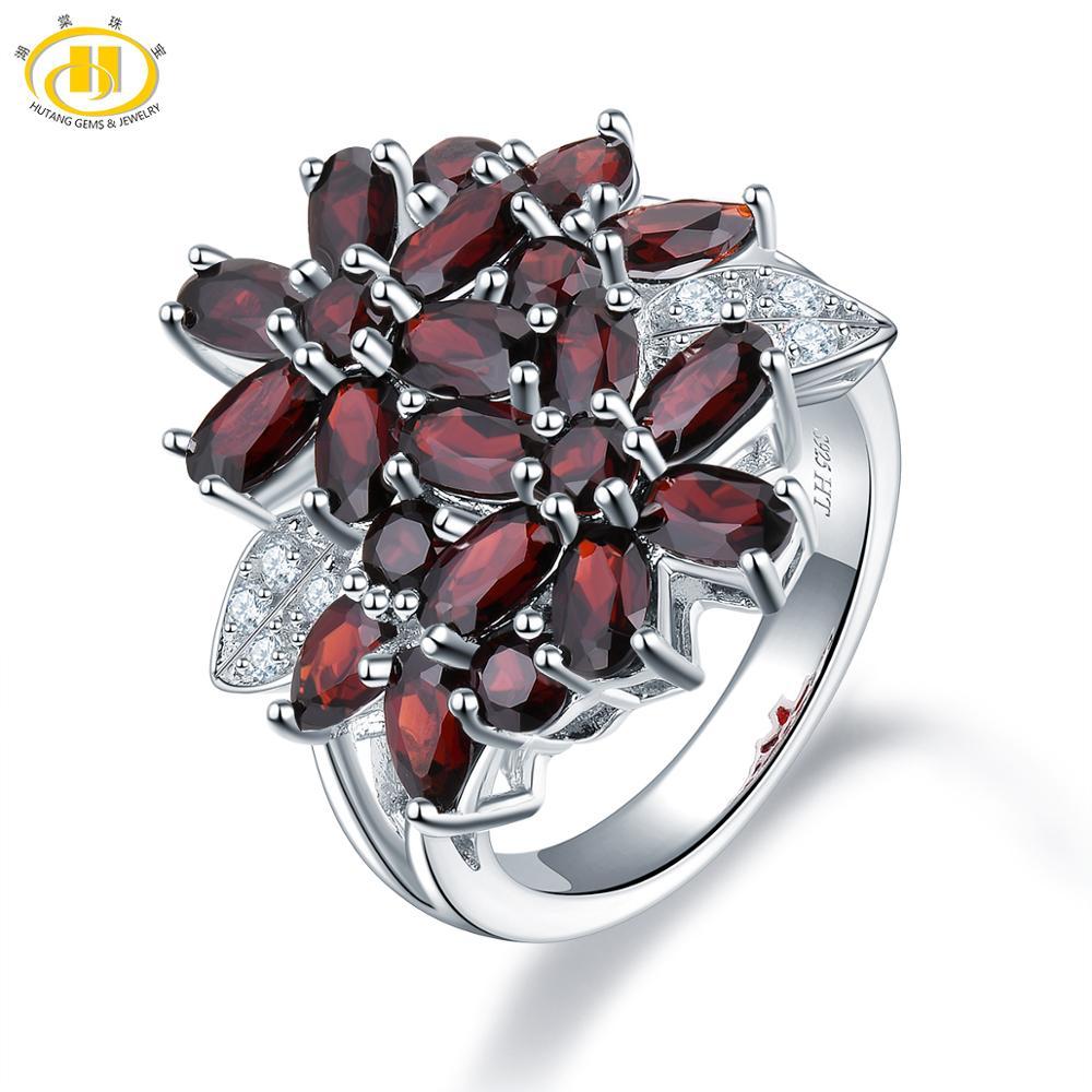 Hutang 5.26ct Cluster grenat femmes anneau solide 925 en argent Sterling naturel rouge pierres précieuses anneaux Fine élégante bijoux pour cadeau