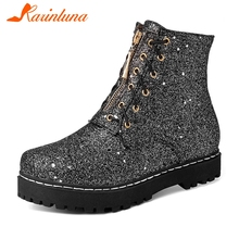 KARINLUNA New Fashion Plus Size 30-52 Bling Zip Ladies Chunky Heels Shoes Women Casual Party Office Autumn Spring Ankle Boots