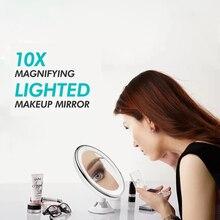 Светодиодный светильник, настенное зеркало, 10X увеличительное стекло для настольной ванной комнаты, вращение на 360 градусов, полностью профессиональное косметическое зеркало с подсветкой