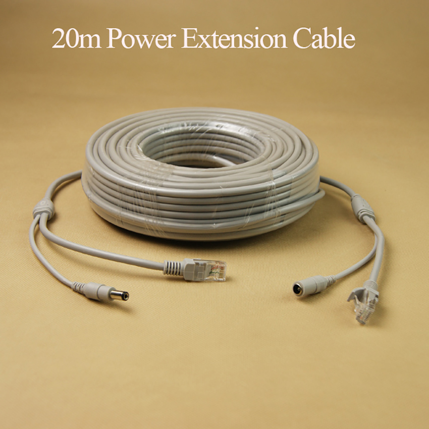 20m NVR RJ45 CCTV Extension Cable For IP Camera Video Surveillance, DC Power 2 In 1 Camera Ethernet Network Connecting Cable