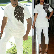 African Couple Tops Dashiki Shirt Matching 2pieces-Set White Women MD for And Embroidery