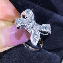 USTAR Flower Bowknot Rings for women Cubic Zirconia Silver Finger Wedding Engagement Female jewelry Accessories Anel gift