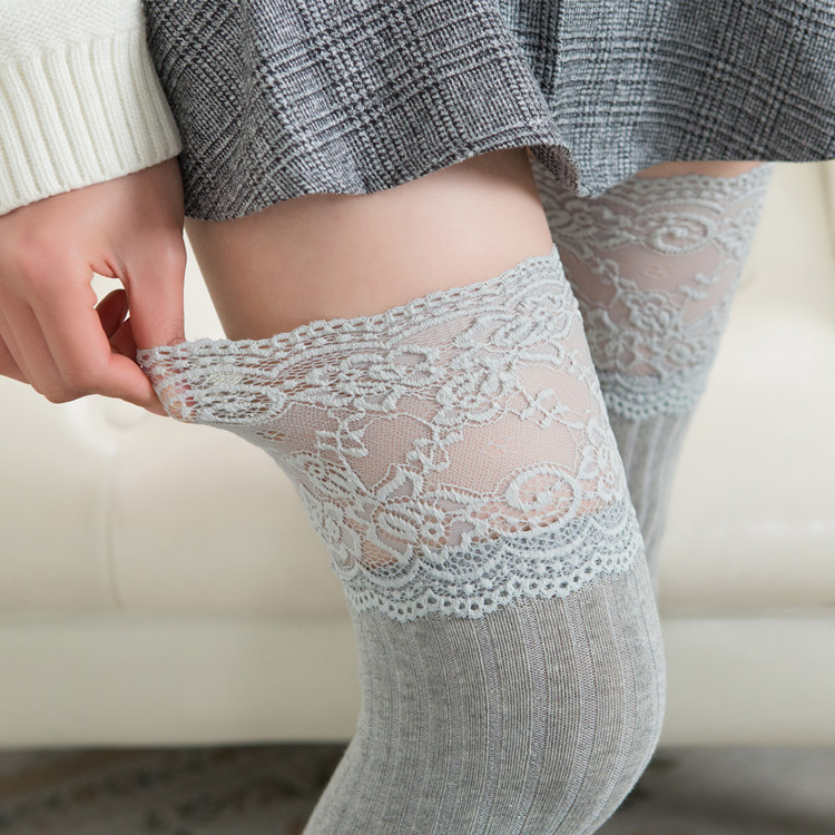Long tube over knee <font><b>socks</b></font> female mid-stocking student version <font><b>cute</b></font> <font><b>sexy</b></font> lace lace college japanese over the knee <font><b>socks</b></font> image