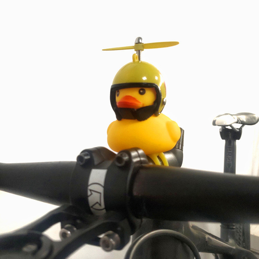 Cute Helmet Propeller Duck Kids Bike Bicycle Handlebar Bell Light Horn Lamp