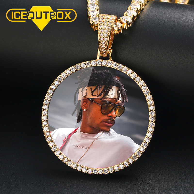 Hot Custom Photo Big Size Round Pendant Necklace Personality Men's Hip Hop Jewelry 4mm Tennis Chain Cubic Zircon Gold Silve Gift