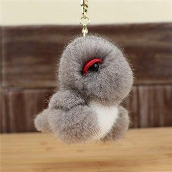 2020 new dinosaur pendant mink plush cute real hair doll bag key chain toy simulation animal small gift